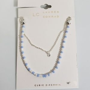 LC Lauren Conrad Blue White Beaded Necklace